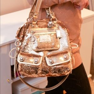 Coach gold sequin poppy tote
