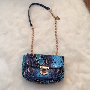 Faux snake skin blue cross body with gold details