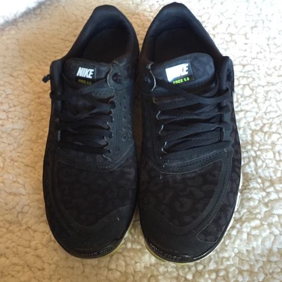 43 nike shoes nike free 5 0 black cheetah print