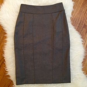 H&M Gray Fitted Pencil Midi Skirt