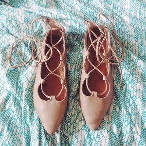 {Old Navy}  Nude Lace Up Flats