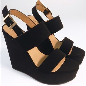 Bamboo Two Bands Open Toe Wedges