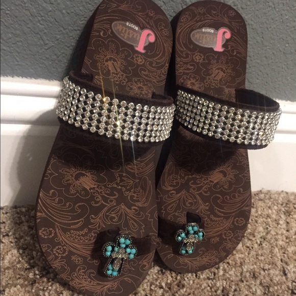 c4d3d608eb178f Justin Boots Shoes - Justin Boots Brand Turquoise Cross   Bling Sandals