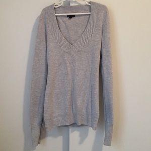 Gray V-Neck Express Sweater, Size S