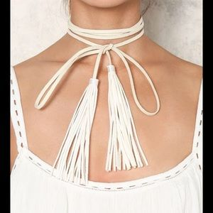 Jewelry - NWT White Faux Suede Tassel Wrap Choker Necklace