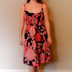 Kensie Pretty Black with Pink Floral Sun Dress
