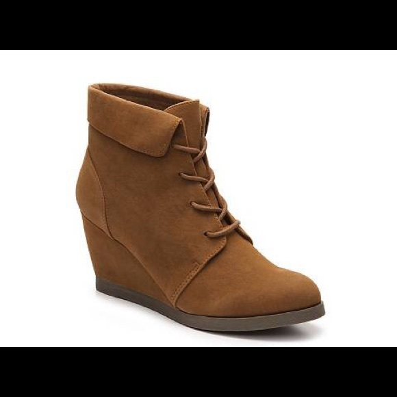 2077c68ed9ee Madden Girl Shoes | Dearest Wedge Booties In Cognac Nwot | Poshmark