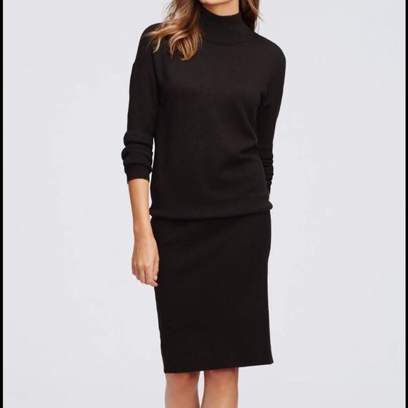 6e8d978c71 ANN TAYLOR XSP BLACK MOCK NECK SWEATER DRESS