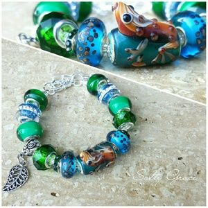 Salty Grace  Jewelry - Frog, nature leaf green charm bracelet