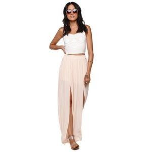Tobi Pleated Double Slit Maxi Skirt
