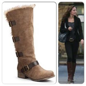 Mudd Brown Tall Riding Boots With Buckles/Sherpa