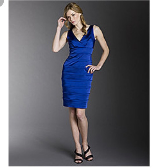 e58732e3cb3e Calvin Klein Dresses   Skirts - Calvin Klein V neck banded satin royal blue  dress