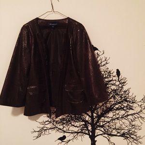Jackets & Blazers - faux snakeskin/ alligator brown leather jacket
