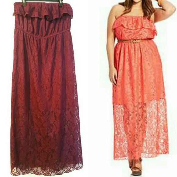 Trixxi 2X Jr Plus Size Burgundy Lace Maxi Dress