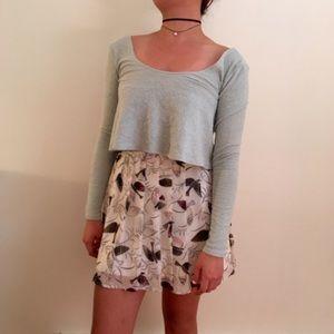 Pleated Bird Print Skirt