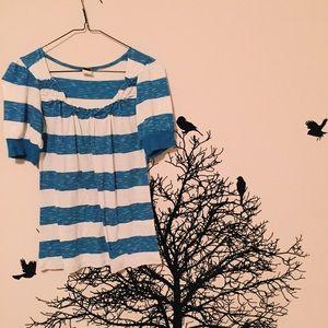 Tops - blue and cream stripped ruffle shirt