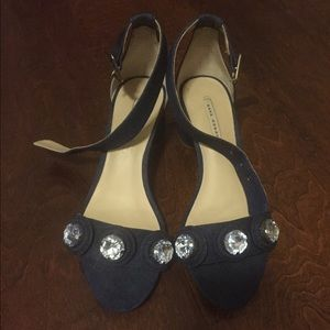 Zara Denim Petite Heels with Jewel Accent