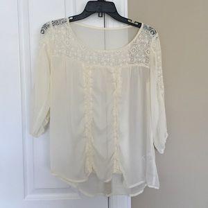 Cream Three Quarter Length Sleeve Blouse