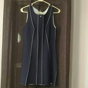 Vintage Chanel Navy Ivory Darted Dress size 40