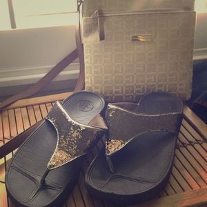 FitFlops Brown Bling Sz 9 Very Good Condition