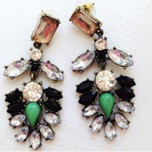Green Everest Crystal Statement Earrings