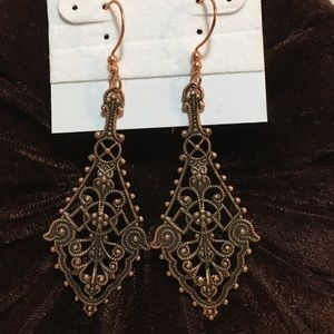 SOLID ANTIQUED COPPER EARRINGS