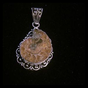 Jewelry - Rare beauty ammonite fossil pendant in 925 silver