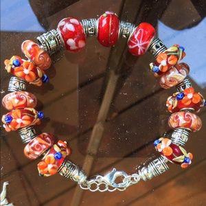 Jewelry - ❗️Sale❗️Orange, red ,silver Murano bead bracelet