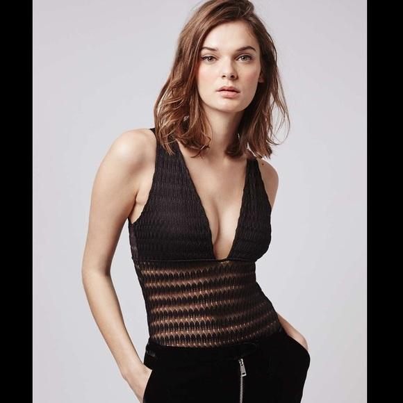 a22f3382bfde4 ⚡️SALE⚡️Topshop black lace plunging bodysuit