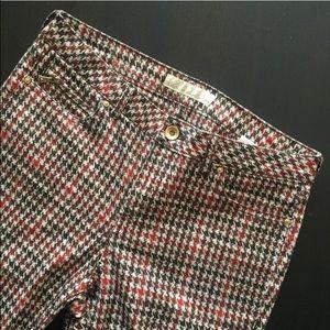 Zara Pants - Zara Red & Black Houndstooth Stretchy Skinny Pants