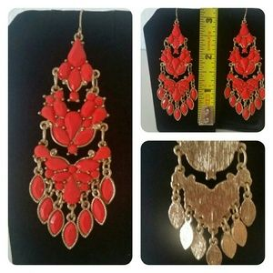 Gorgeous Coral Chandelier Earrings