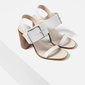 White leather high heel sandal -- Zara size 8
