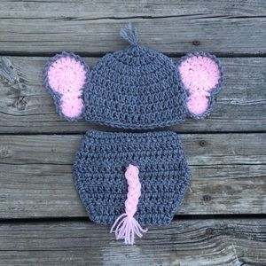 32ef9348583 Baby Girl Elephant Photo Prop Outfit Crochet