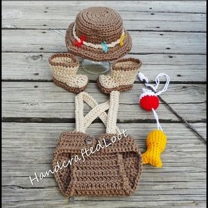 c3c4ba223e7 Baby Fishing Fisherman Photo Prop Outfit Crochet