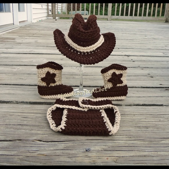 Handmade Costumes Baby Boy Cowboy Photo Prop Outfit Hat Crochet Poshmark