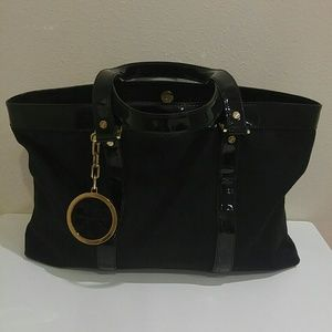 New Tory Burch patent leather and canvas tote