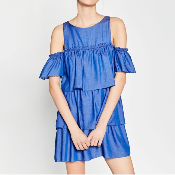 45487dddf4 Zara Denim Ruffle Dress. M 57ab2b5a4127d071f8001228