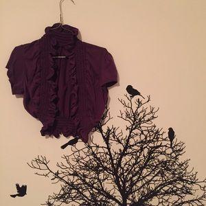 Tops - deep purple ruffle mini sweater shawl