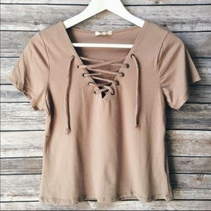 Taupe eyelet lace up top tees