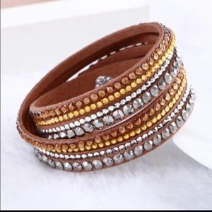 Rhinestone leather wrap around bracelet brown