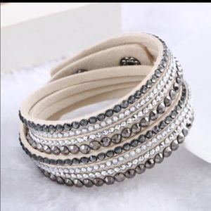Rhinestone leather wrap around bracelet beige NEW
