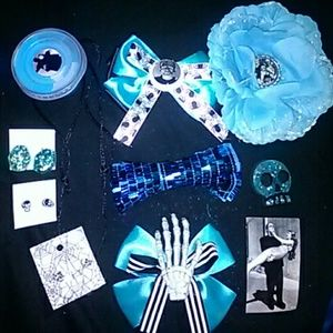 Blue Frankenstein Psychobilly Hot Topic bows