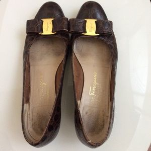 Salvatore Ferragamo Shoes - Vintage Salvatore Ferragamo Leather Shoes Flats