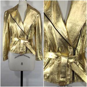 Vintage Jackets & Blazers - Metallic Gold Leather Jacket