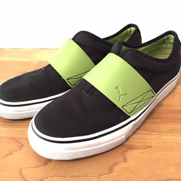2a7b5fb9b2b Puma black canvas shoe w bright green band slip on.  M 57ab5589c6c7959193005478