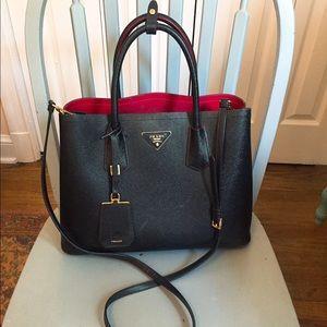 38ff504d564e30 prada saffiano cuir double mini tote bag, prada purse wallet