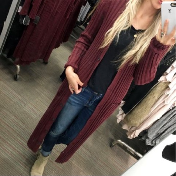60% off Free People Sweaters - Burgundy duster cardigan from ...