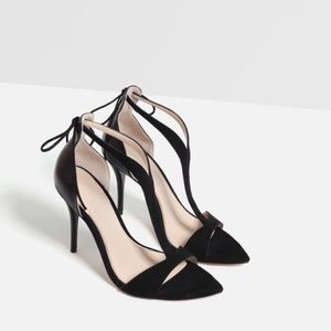 ZARA Strappy Heeled Sandal with Ankle Tie