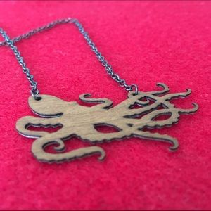 Independent Designer Jewelry - Reversible Wood & Metal Octopus Necklace 🇺🇸