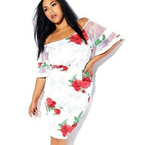 Dresses & Skirts - NWT PLUS SIZE  FINAL SALE OFF SHOULDER MESH SLEEVE